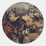 La batalla del detalle de Borodino de Hess Peter Etiqueta Redonda
