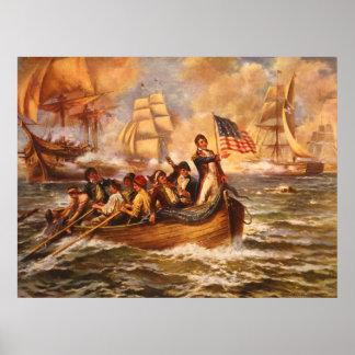 La batalla del lago Erie de Percy Moran Póster
