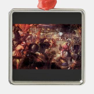 La batalla del taro por Tintoretto Adorno Cuadrado Plateado