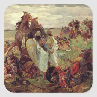 La batalla entre russians y tártaro, 1916 pegatina cuadrada