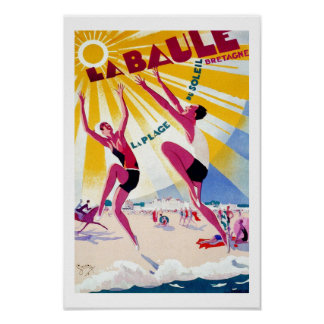 La Baule France Vintage Travel Poster