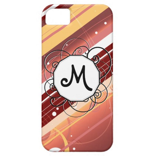 La baya besa rayas Moderno-Retras con el monograma iPhone 5 Carcasas