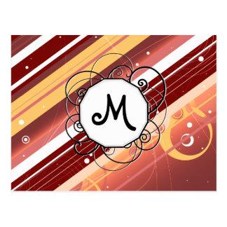 La baya besa rayas Moderno-Retras con el monograma Postal
