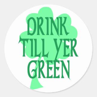 La bebida labra verde del YER Etiquetas Redondas