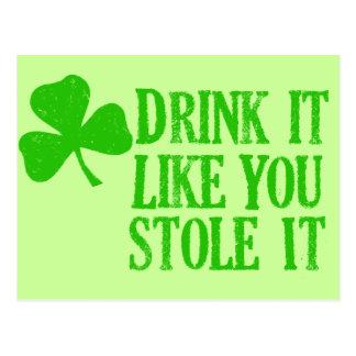 La bebida que tiene gusto de usted lo robó tarjetas postales
