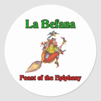La Befana (Christmas Witch) Feast of the Epiphany Classic Round Sticker