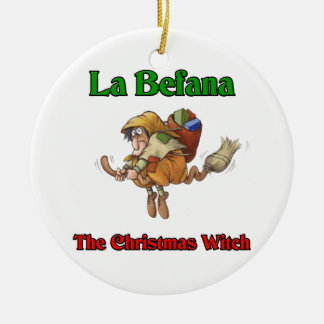 La Befana The Christmas Witch.. Double-Sided Ceramic Round Christmas Ornament