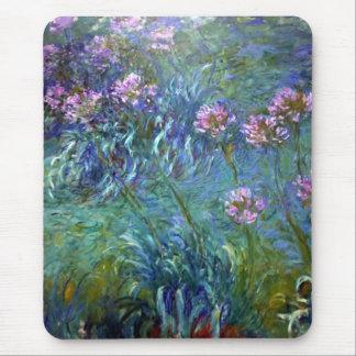 La bella arte de Monet florece el Agapanthus Alfombrillas De Ratón