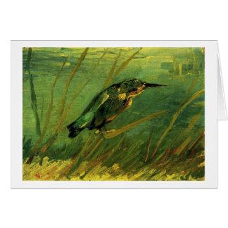 La bella arte de Van Gogh del martín pescador Tarjeta De Felicitación