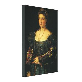 La Bella, Duchess of Urbino by Titian Canvas Print