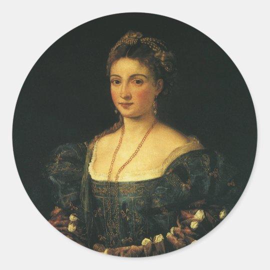 La Bella, Duchess of Urbino by Titian Classic Round Sticker
