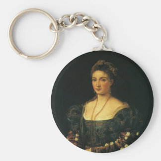 La Bella, Duchess of Urbino by Titian Keychain