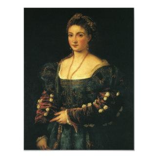 """La Bella, duquesa de Urbino por Titian Invitación 4.25"""" X 5.5"""""""
