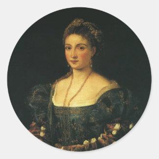 La Bella, duquesa de Urbino por Titian Pegatina Redonda