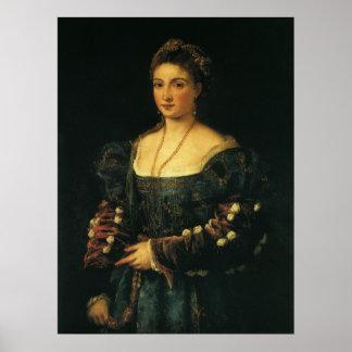 La Bella, duquesa de Urbino por Titian Póster