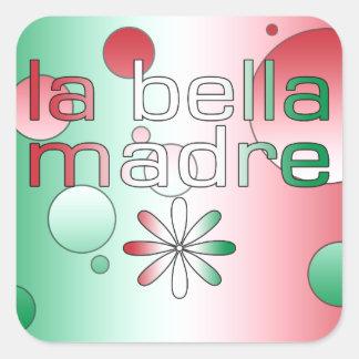 La Bella Madre Italy Flag Colors Pop Art Square Sticker