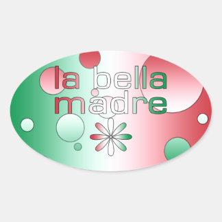 La Bella Madre Italy Flag Colors Pop Art Oval Sticker
