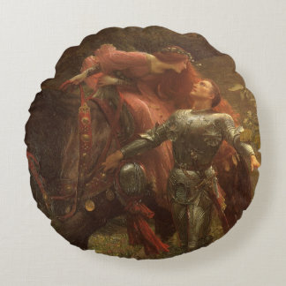 La Belle Dame sans Merci by Sir Frank Dicksee Round Pillow
