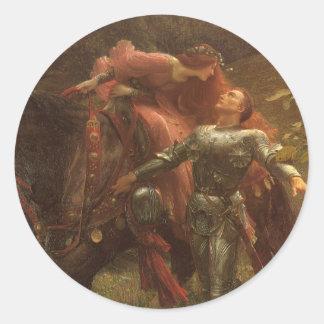 La Belle Dame sans Merci, Dicksee, Victorian Art Classic Round Sticker