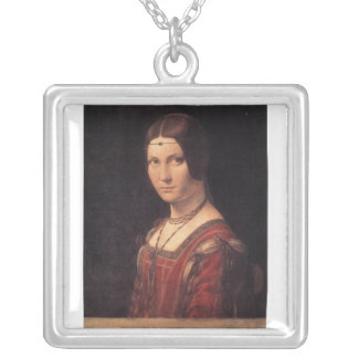 La Belle Ferronniere by Leonardo Da Vinci Square Pendant Necklace