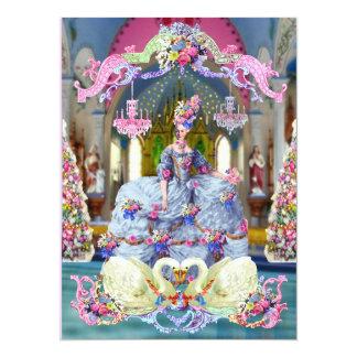 La Belle Marie Antoinette & Swans Merry Christmas 5.5x7.5 Paper Invitation Card