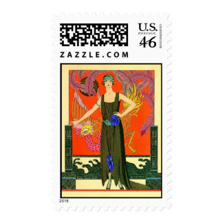 La Belle Vintage Art Deco Fashion Illustration Postage Stamps