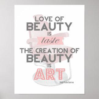 La belleza es impresión retra del salón del estili impresiones