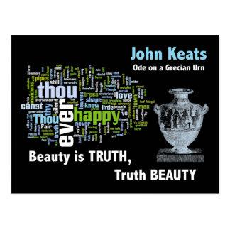 La belleza es verdad - John Keats - urna griega Tarjeta Postal