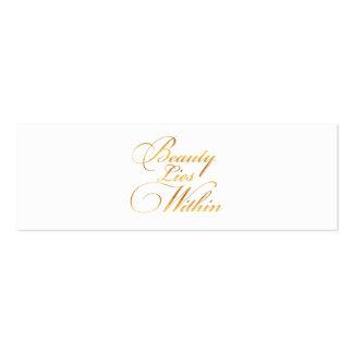 La belleza miente dentro hoja del oro de la cita tarjetas de visita mini
