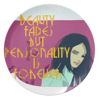 La belleza se descolora personalidad es para siemp platos para fiestas