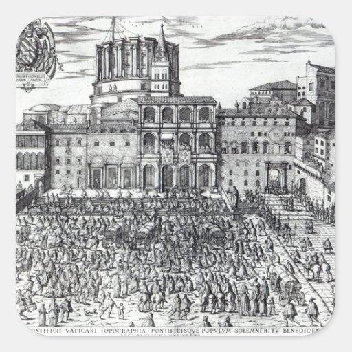 La bendición de papa Pío V Pegatina Cuadrada