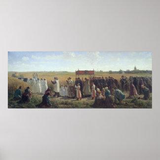 La bendición del trigo en el Artois, 1857 Póster