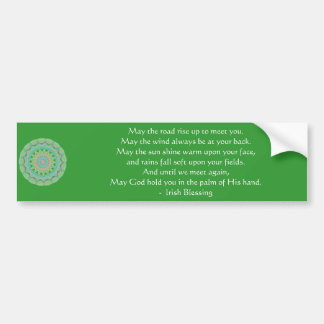 La bendición irlandesa puede el camino etiqueta de parachoque