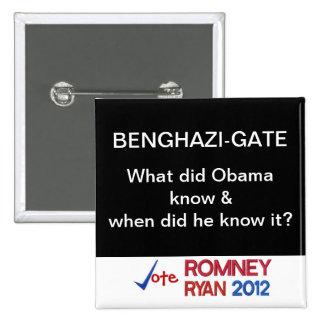 ¿La Bengasi-Puerta qué hizo a Obama sabe? Botón Pin Cuadrado