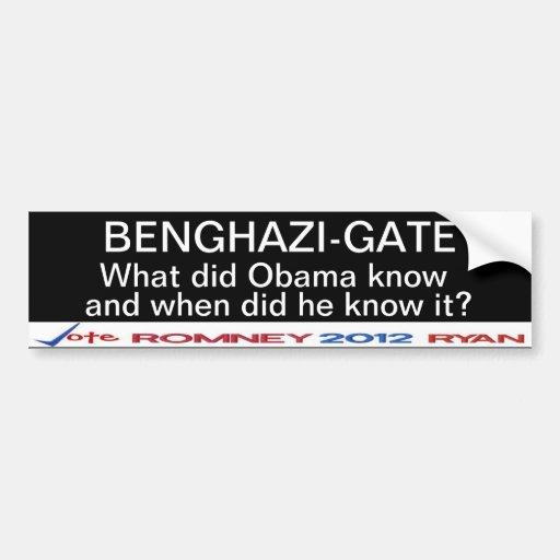 ¿La Bengasi-Puerta qué hizo a Obama sabe? Pegatina Etiqueta De Parachoque
