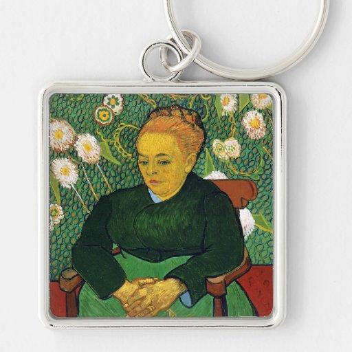 La Berceuse, mujer que oscila una cuna, Van Gogh Llavero Cuadrado Plateado