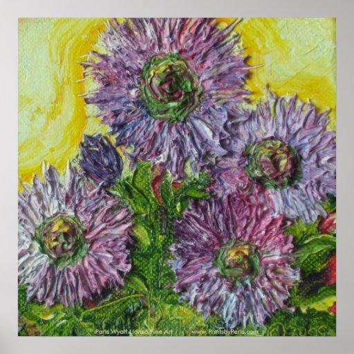 La bergamota salvaje púrpura florece el poster de