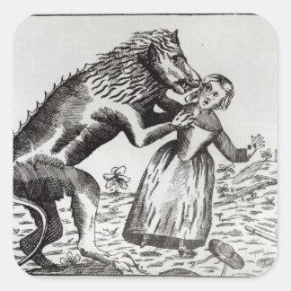 La bestia de Gevaudan que ataca a una chica joven Pegatina Cuadrada