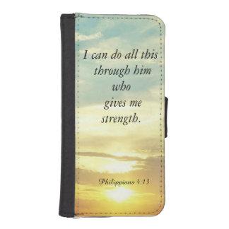 La biblia cita la caja de la cartera del 4:13 de fundas tipo billetera para iPhone 5