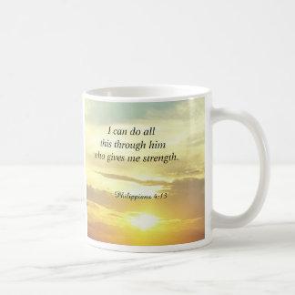 La biblia cita la taza del 4:13 de los filipenses