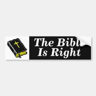 La biblia correcta etiqueta de parachoque