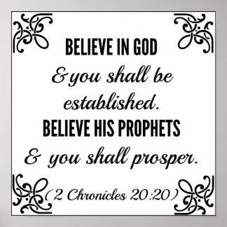La biblia de las crónicas cree en dios póster
