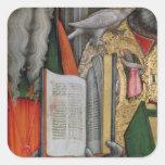 La biblia de St Jerome y la paloma de St Gregory, Pegatina Cuadrada