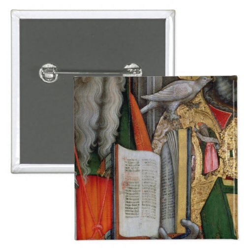La biblia de St Jerome y la paloma de St Gregory,  Pin Cuadrado