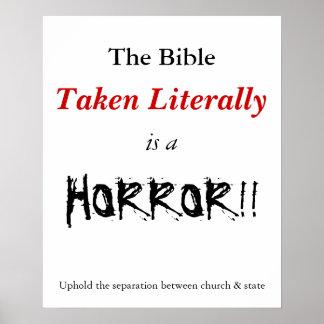 La biblia literal es un horror poster