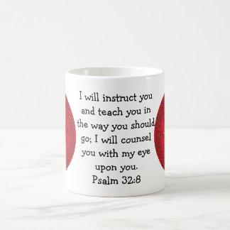 La biblia versifica 32:8 inspirado del salmo de la taza básica blanca