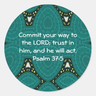 La biblia versifica 37 5 de motivación del salmo d pegatinas redondas