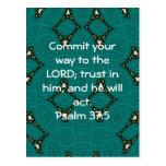 La biblia versifica 37:5 de motivación del salmo d tarjeta postal