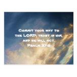 La biblia versifica 37:5 de motivación del salmo d postales