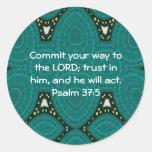 La biblia versifica 37:5 de motivación del salmo pegatinas redondas